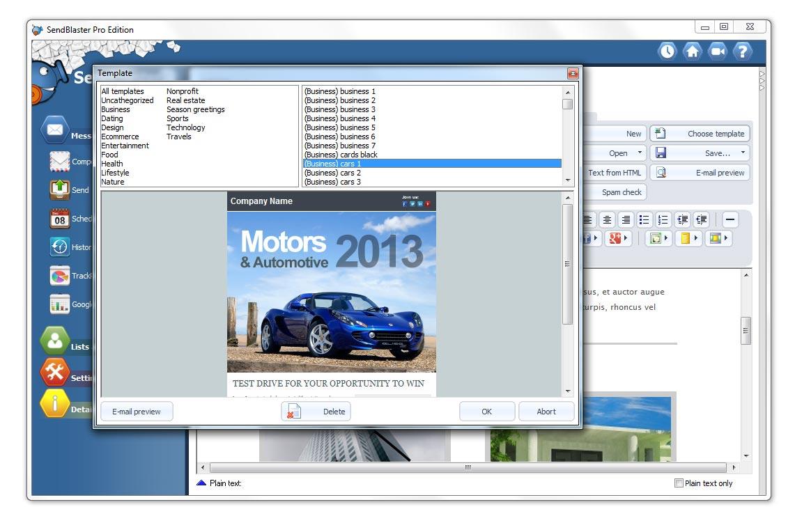 Sendblaster il miglior software per l invio di newsletter for Miglior software di casa
