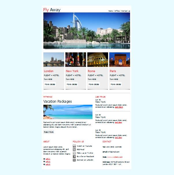 plantillas de correo electrónico gratuitas de viajes