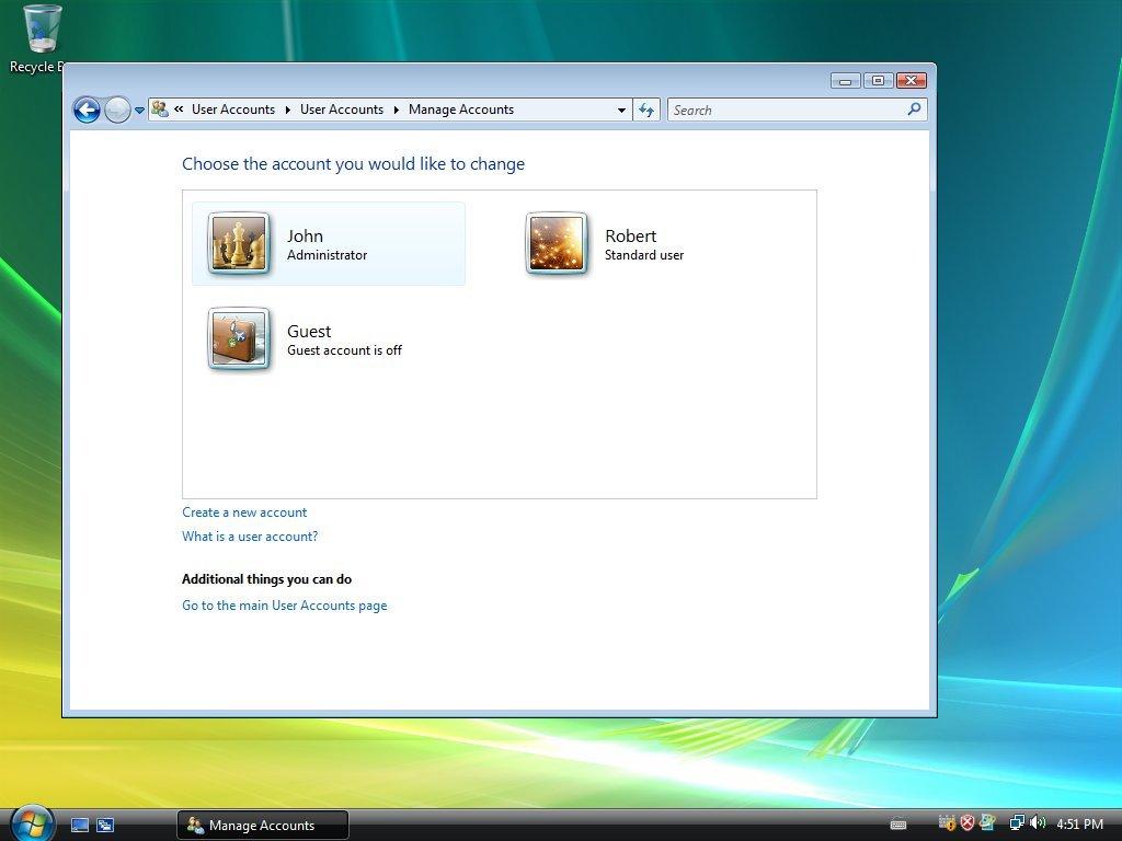Windows Vista logging in as an Administrator