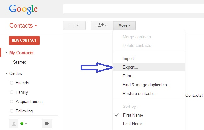Export Gmail contacts in csv