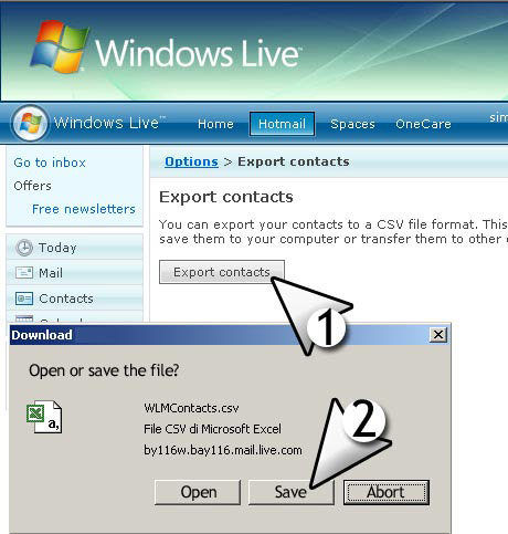 import msn live contacts email list with CSV file format