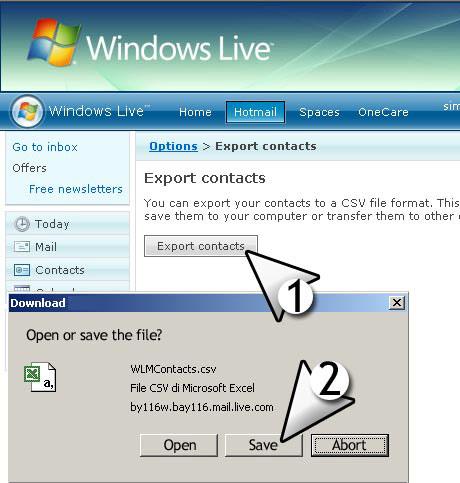 importar contactos de email de msn live con formato de archivo CSV