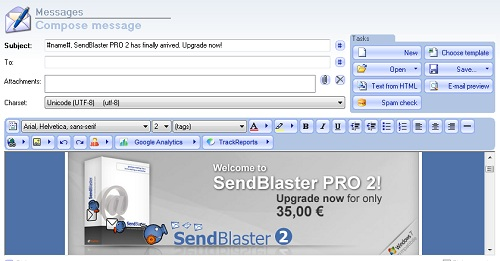 SendBlaster message composing window